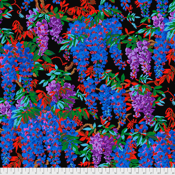 WISTERIA BLACK August 2020 Philip Jacobs PWPJ102 - Kaffe Fassett Collective - Sold in 1/2 yd units - Multiples cut as one length