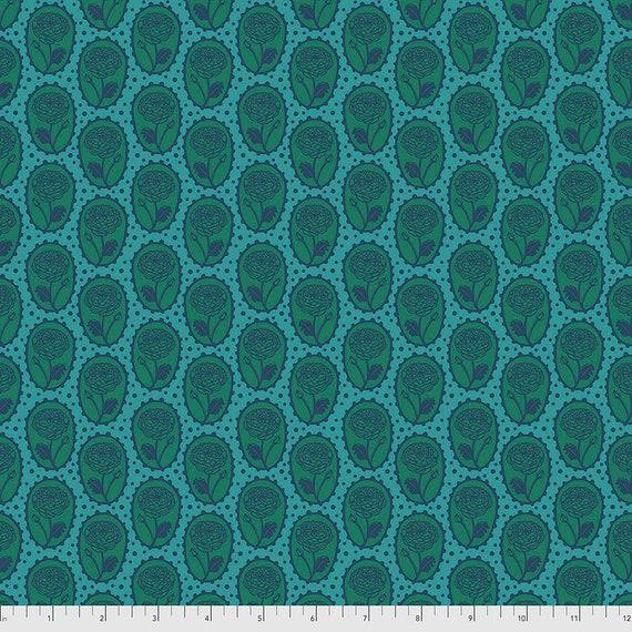 LOCKET OCEAN Green Teal PWAH018.Ocean Love Always by Anna Maria Horner -  Sold in 1/2 yard increments -  Multiples cut in one length