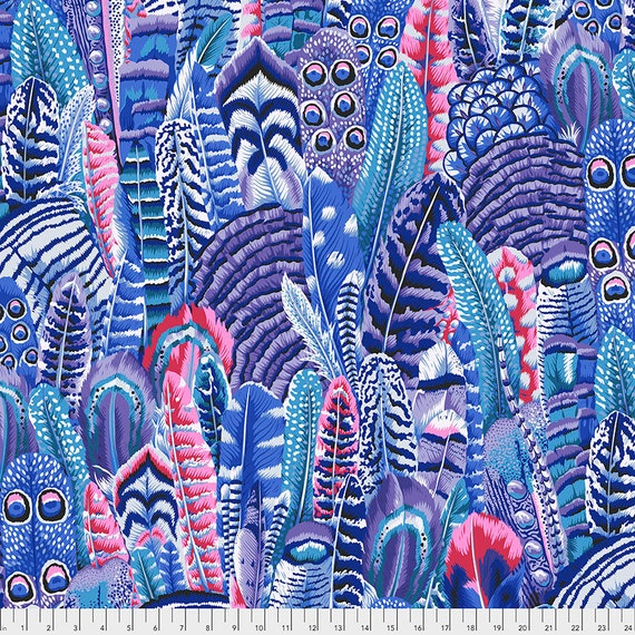 FEATHERS COOL Blue pwpj055 Philip Jacobs - Kaffe Fassett Collective  Sold in 1/2 yd increments