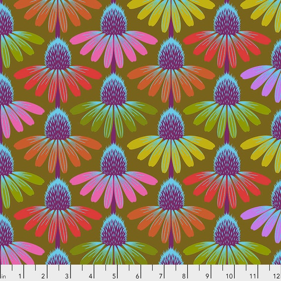ECHINACEA GLOW - Autumn - Anna Maria Horner - Sold in 1/2 yd increments  - Multiples cut as one length  - USA based retailer