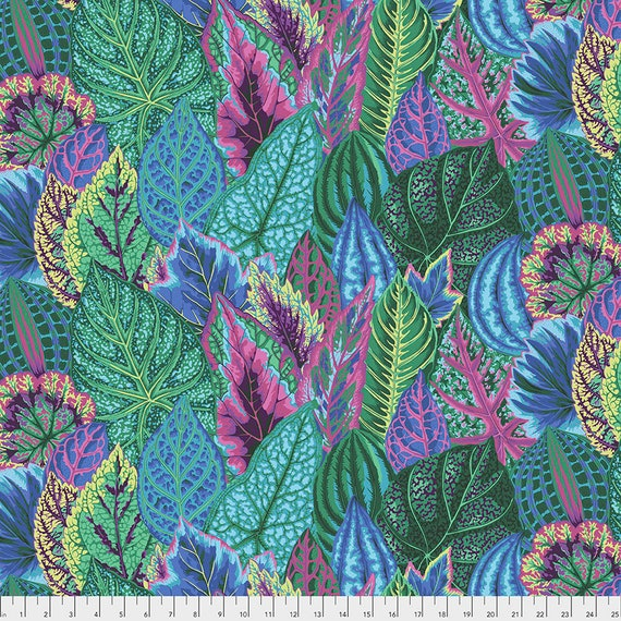 Feb 2020 Pre-Order Keep on Separate Order COLEUS TURQUOISE PWPJ030 Philip Jacobs Kaffe Fassett -  1/2 yd - Multiples cut one length