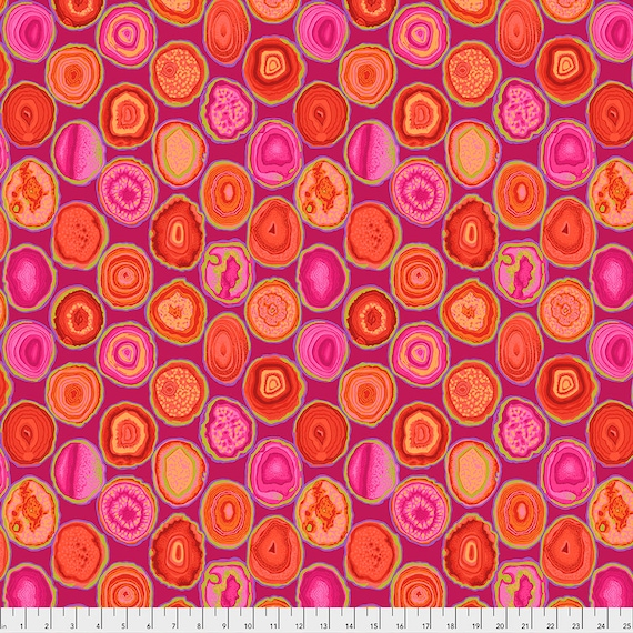 GEODES RED pwpj099 Philip Jacobs Kaffe Fassett Collective - Sold in 1/2 yd increments - Multiples cut in one length