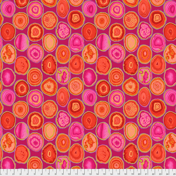 GEODES RED pwpj099 Philip Jacobs Kaffe Fassett Collective -  1/2 yd - Multiples cut continuously - Multiples cut in one length