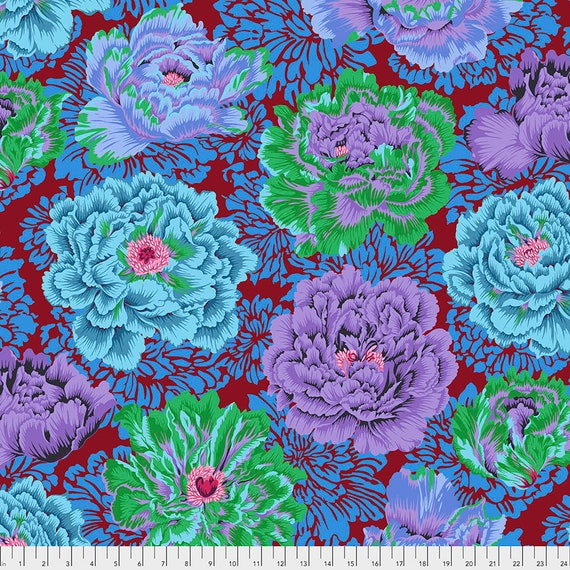 FEBRUARY 2021 Pre-Order - Read Description! BROCADE PEONY Cool pwpj062 Philip Jacobs - Kaffe Fassett Collective  Sold in 1/2 yd increments