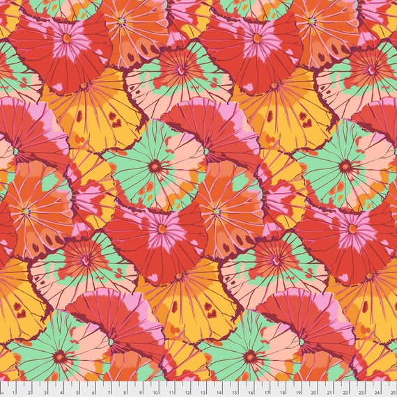 LOTUS LEAF Citrus Kaffe Fassett  PWGP029.CITRU  1/2 yd - Multiples cut continuously