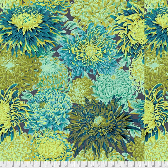 JAPANESE CHRYSANTHEMUM FOREST Green PWPJ041 Philip Jacobs for Kaffe Fassett Collective Sold in 1/2 yd increments