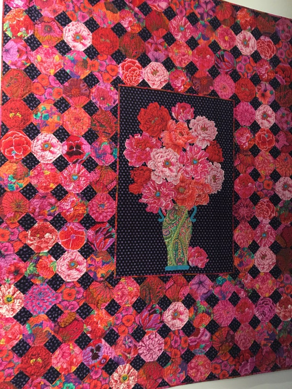 "BROCADE PEONY MEDALLION Quilt Pattern   72"" x 82""  Pdf Download pattern  only"