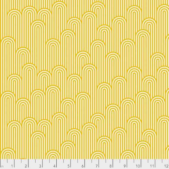 1/2 yd TOWER 7 Glow Fish Yellow ZUMA Tula Pink - Multiple units cut as one length