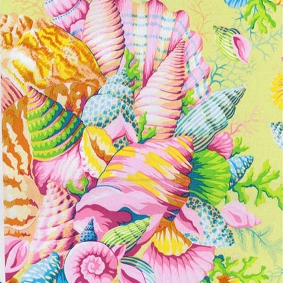 SHELL BOUQUET Yellow PWPJ088 Philip Jacobs for Kaffe Fassett Collective Sold in 1/2 yd increments