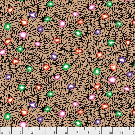 MOSS FLOWER Ochre pwgp184 - Kaffe Fassett Collective  Sold in 1/2 yd increments