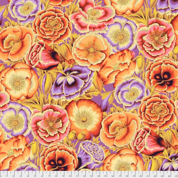 POPPY GARDEN Orange Philip Jacobs PWPJ095.ORANG Kaffe Fassett Collective Sold in 1/2 yd increments