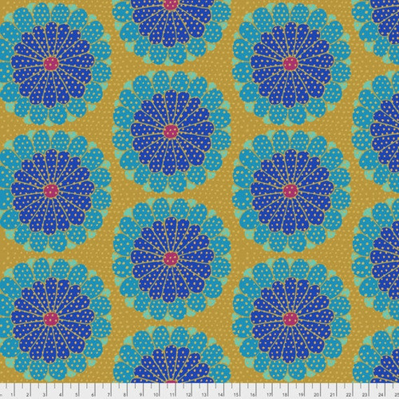 KYOTO BLUE - Artisan - Kaffe Fassett Sold in 1/2 yd units - Multiples cut as one length