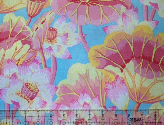 LAKE BLOSSOMS GP93 Pink Kaffe Fassett Sold 1/2 yd increments - Multiples cut as one length  - USA based retailer