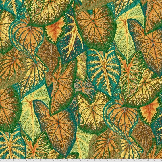 Pre-Order on Separate Order! CALADIUMS GOLD Philip Jacobs Kaffe Fassett Collective - Sold in 1/2yd units - Multiples cut continuous