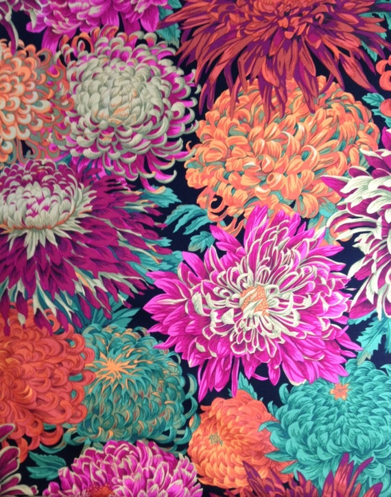 JAPANESE CHRYSANTHEMUM Red PJ41 Philip Jacobs Kaffe Fassett Sold in 1/2 yd increments