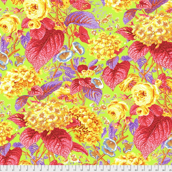 Pre-Order ROSE AND HYDRANGEA Citrus pwpj097 Philip Jacobs Kaffe Fassett Collective - Sold in 1/2 yd increments - Multiples cut in one length