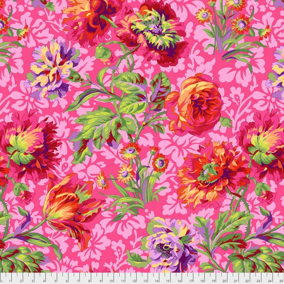 BAROQUE FLORAL  RED  Philip Jacobs pwpj090.black Kaffe Fassett Collective  1/2 yd - Multiples cut as one length Item