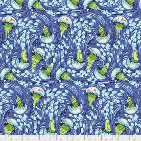 1/2 yd SEA BLOOM Aquamarine Blue ZUMA Tula Pink - Multiple units cut as one length