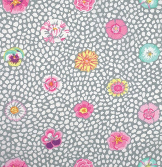 GUINEA FLOWER Grey Kaffe Fassett sold in 1/2 yard increments  - USA based retailer