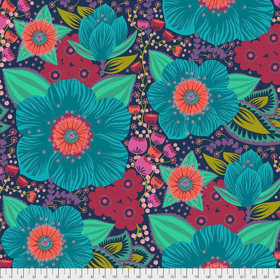 "Pre-Order 108"" BACKING ""Honorable Mention Turquoise"" - Anna Maria Horner - Apr 2020 - 1/2 yd units - Multiples cut as one length"