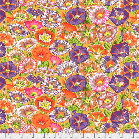Pre-Order - VARIEGATED MORNING GLORY Orange pwpj098 Philip Jacobs Kaffe Fassett Collective - Sold in 1/2 yd - Multiples cut in one length