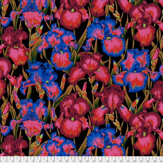 BEARDED IRIS DARK Philip Jacobs PWPJ104 - Kaffe Fassett Collective - Sold in 1/2 yd units - Multiples cut  one length