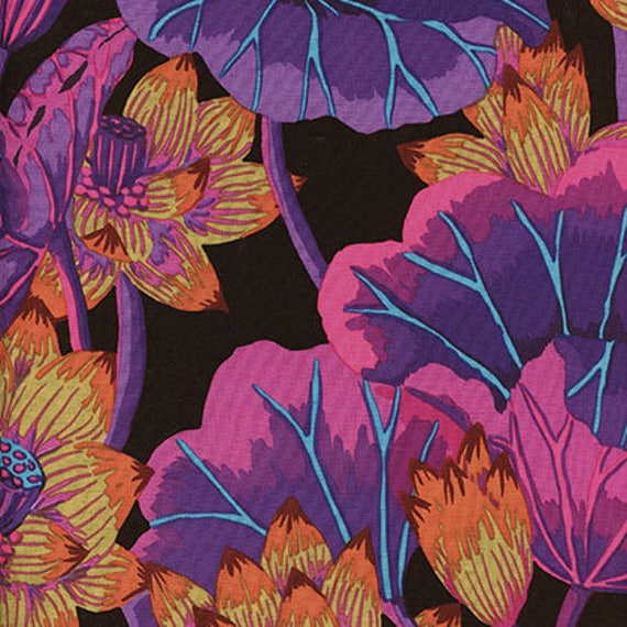 LAKE BLOSSOMS Black Kaffe Fassett Collective  1/2 yd - Multiples cut as one length  - USA based retailer