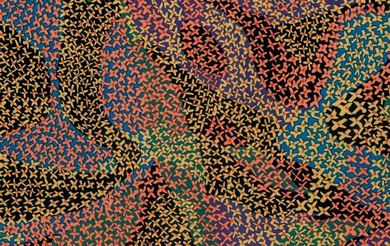 MIGRATION in DARK BM058 Brandon Mably for Kaffe Fassett Collective Sold in 1/2 yd increments