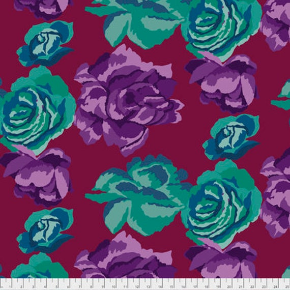 ROSE CLOUDS MAROON PWGP164 Kaffe Fassett Sold in 1/2 yd increments