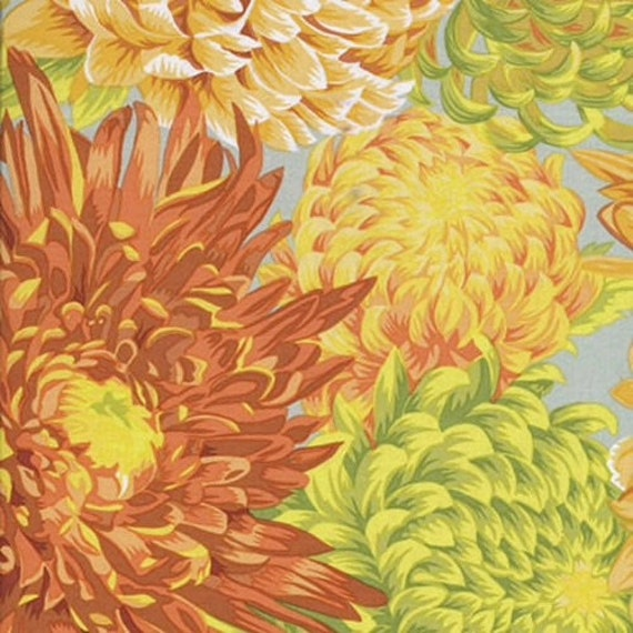 JAPANESE CHRYSANTHEMUM YELLOW Philip Jacobs - Kaffe Fassett Collective  Sold in 1/2 yd increments - Multiples cut as one length