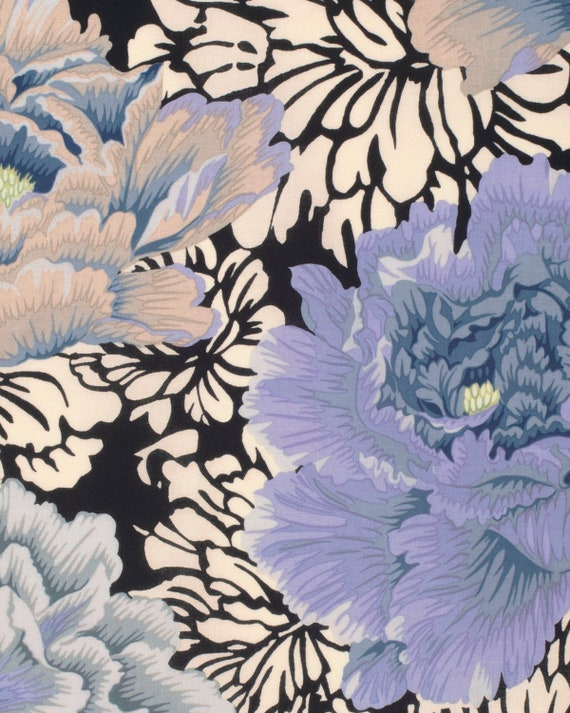 BROCADE PEONY Grey Gray Philip Jacobs Kaffe Fassett Collective  1/2 yd - Multiples cut as one length