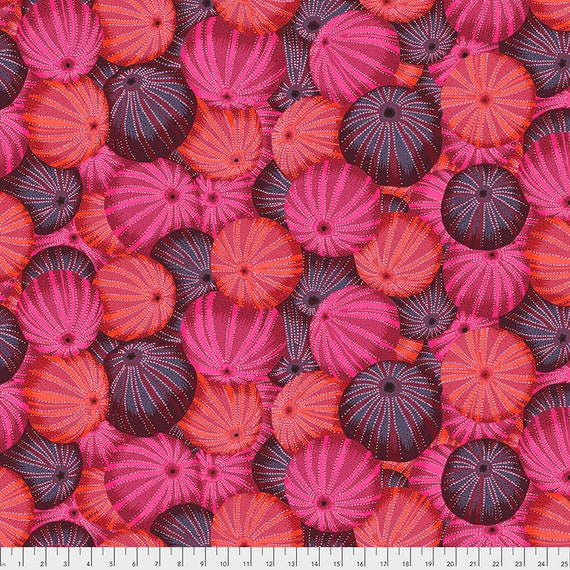 SEA URCHINS RED pwpj100 Philip Jacobs Kaffe Fassett Collective - Sold in 1/2 yd increments - Multiples cut in one length