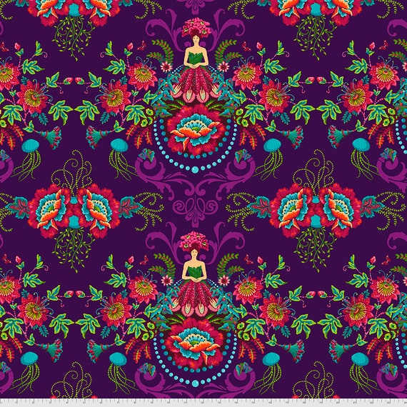 PreOrder June/July delivery Flower Fairies PLUM Magicountry by Odile Baileou  - Sold in 1/2 yd increments - Multiple units cut as one length