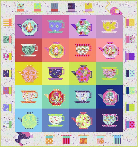 Pre-Order Registration MAD HATTERS Tea Party Quilt Kit - Alice In Wonderland by Tula Pink Delivery - April/June 2021