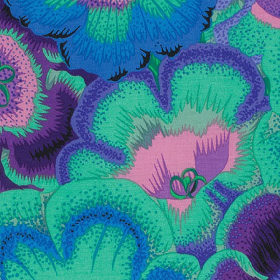 GLOXINIAS BLUE PJ071 Philip Jacobs for Kaffe Fassett Collectives Sold in 1/2 yd increments