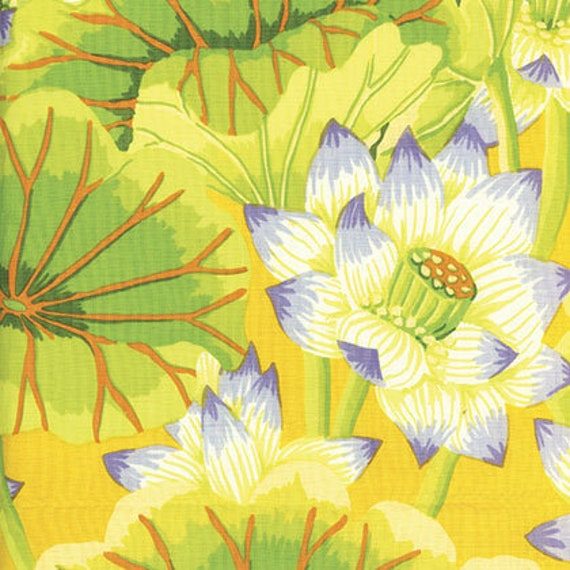 LAKE BLOSSOMS Yellow  Kaffe Fassett Collective - Sold in 1/2 yd increments - Multiple units cut as one length