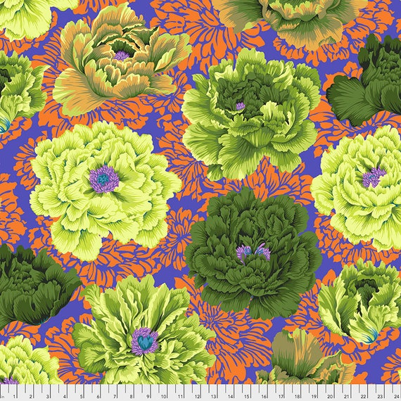 BROCADE PEONY Moss pwpj062 Philip Jacobs Kaffe Fassett Collective Sold in 1/2 yd increments