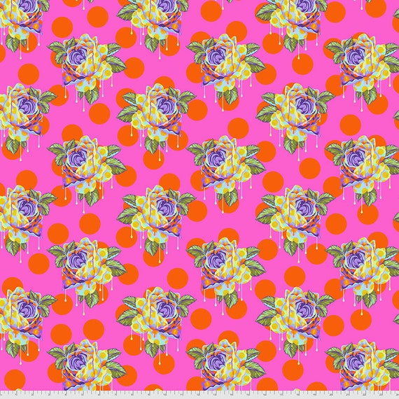 1/2 yd PAINTED ROSES - DayDream  - Curiouser -  Tula Pink  Sold in 1/2 yd increments - Multiples cut as one length