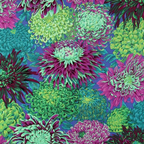 JAPANESE CHRYSANTHEMUM GREEN Philip Jacobs for Kaffe Fassett Collective  1/2 yd - Multiples cut continuously
