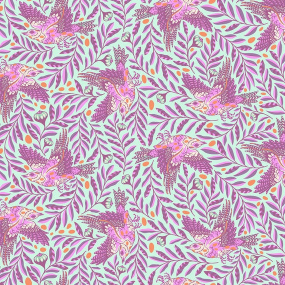FQ RE-TWEET Aurora Purple on DuckEgg Spirit Animal Tula Pink  Fat Quarter 18 x 22