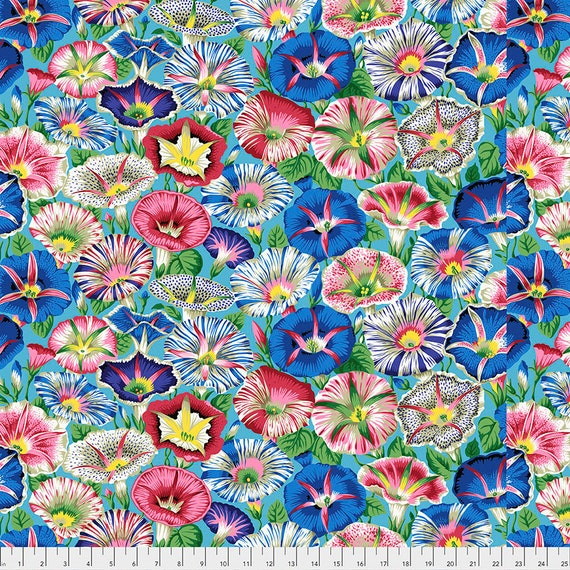 Pre-Order - VARIEGATED MORNING GLORY Aqua pwpj098 Philip Jacobs Kaffe Fassett Collective - Sold in 1/2 yd increments - Multiples cut as one
