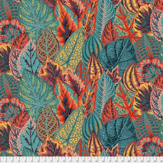COLEUS TEAL PWPJ030 Philip Jacobs Kaffe Fassett Collective -  1/2 yd - Multiples cut one length  - USA based retailer