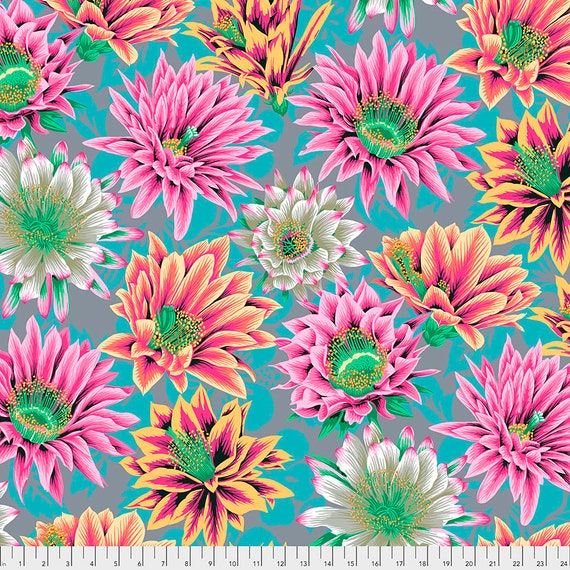 FEBRUARY 2021 Pre-Order - Read Description! CACTUS FLOWER Tawny pwpj096 Philip Jacobs Kaffe Fassett Collective Sold in 1/2 yd increments