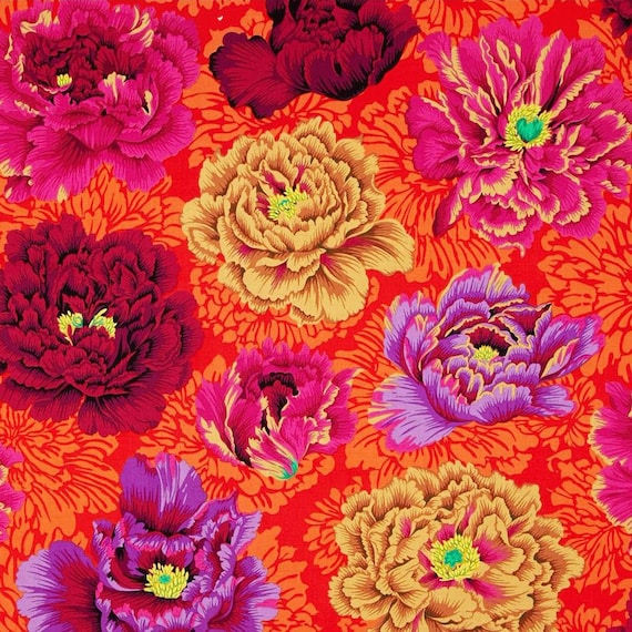 BROCADE PEONY WINE Philip Jacobs Kaffe Fassett Collective Sold in 1/2 yd increments