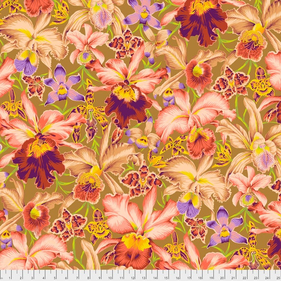 ORCHIDS BROWN Philip Jacobs Kaffe Fassett Collective  -  1/2 yd - Multiples cut continuously - Multiples cut as one length