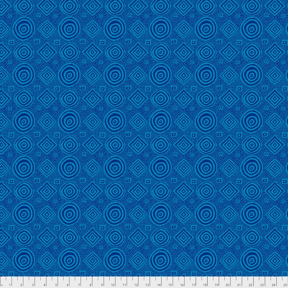 GOOD VIBRATIONS Teal Blue  Brandon Mably pwbm065 Kaffe Fassett Sold in 1/2 yd increments - Multiples cut as one length  - USA based retailer