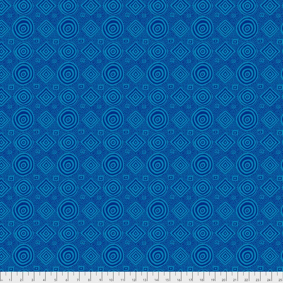 1/2 yd GOOD VIBRATIONS Teal Blue  Brandon Mably pwbm065 Kaffe Fassett - Sold in 1/2 yd increments - Multiple units cut as one length
