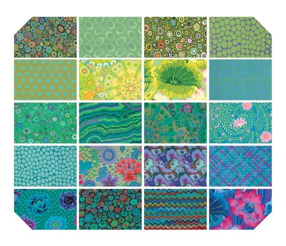 "KAFFE FASSETT ISLAND 5"" Charm Pack Green Teal  ""Classics"" collection"