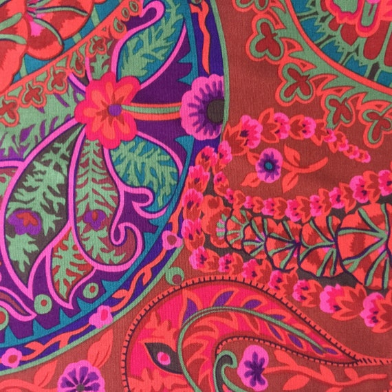 PAISLEY JUNGLE Rust Red GP60 Kaffe Fassett  1/2 yd - Multiples cut continuously