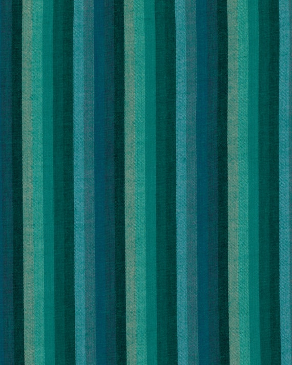 MULTI STRIPE DEEPSEA Woven wmultix.limex  by  Kaffe Fassett fabric sold in 1/2 yard increments